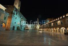 Ascoli Piceno, main square, Piazza del Popolo view by night