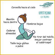 Kapotasana: la postura de la paloma.  Más posturas de yoga en: sondeyoga.com Kapotasana, Comics, Yoga Poses, Cartoons, Comic, Comics And Cartoons, Comic Books, Comic Book, Graphic Novels
