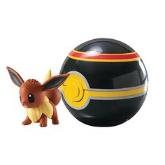 """Poke ball and Eevee!!! - buy now $15.49 Always be ready for battle with the Clip 'n' Carry Poké Ball! It includes a 2"""" Eevee figure and a Luxury Ball. Clip on the Poké Ball for easy access and portability – it pops open with the push of a button!Each pack contains a detailed 2″ figure, a Poké Ball with …"""