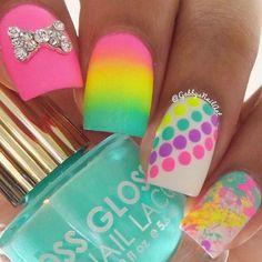 cool Cute and Easy Nail Art Designs That You Will Love - Nail Polish Addicted Polka Dot Nails, Neon Nails, Love Nails, Diy Nails, Matte Nails, Polka Dots, Rainbow Nails, Stiletto Nails, Acrylic Nails