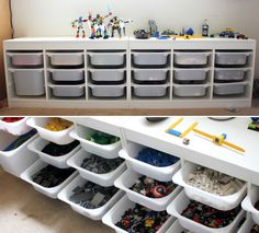 Not just lego! - Ikea (lower to ground allowing for tabletop are. - Ikea DIY - The best IKEA hacks all in one place Rangement Lego Ikea, Trofast Ikea, Lego Storage, Ikea Storage, Playroom Storage, Ikea Playroom, Bin Storage, Storage Center, Table Storage