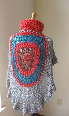 GREY RED PONCHO Crochet Poncho Circle Poncho Fall por marianavail