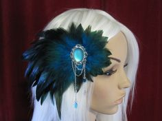 Feather Hairpiece Headpiece Fascinator Turqoise by Ravennixe, $39.00...  I AM SO MAKING THIS.
