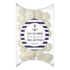 #Nautical Navy & White Stripe Anchor Wedding Gum - #WeddingCandyContainers #Wedding #Candy #Containers #Tins Wedding Candy Containers & Tins