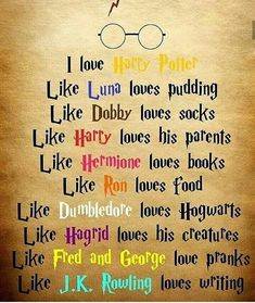 I love everything in harry potter❤⚡⚡