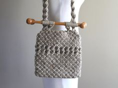 Macramé Vintage Shoulder Bag / Purse Hand Bag / 1960s 1970s / Boho Hippie Bohemian Mod
