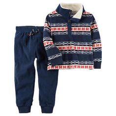 0e2f8974b Details about Carters Toddler Boys Fleece Pullover Jogger Set Fair Isle  Size 12 18 24 Months