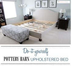 DIY Pottery Barn Upholstered Bed similar to the Raleigh Upholstered Bed by www.simplymadebyrebecca.wordpress.com