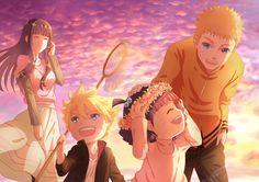 Image for Naruto and Hinata with Their Daughter and Son HD Wallpaper