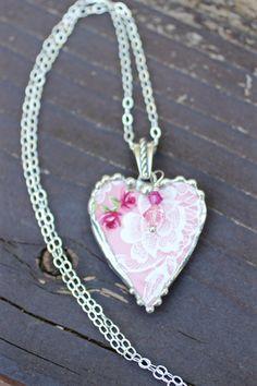 Broken China Jewelry  Heart Pendant by Robinsnestcreation1 on Etsy