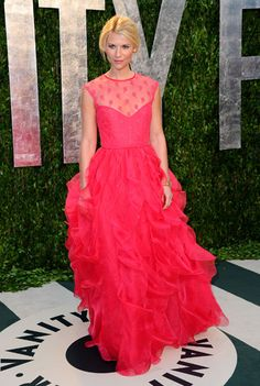 Clearly it was all about shades of fruit at the Vanity Fair After Party - Claire Daine's in a strawberry silk organza Valentino gown...