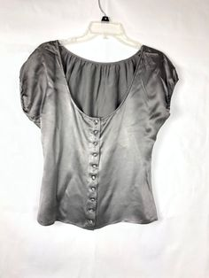 386823829cd0a Cache Women s Silk Gray Top size M Cap Sleeve Shirt Button Down Blouse 1030   Cach