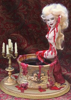 Blood Countess by LabrinthCreations on DeviantART Elizabeth Bathory, Scary Dolls, Vampire Art, Gothic Dolls, Halloween 1, Gothic Art, Scary Movies, Ooak Dolls, Beautiful Dolls
