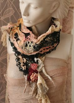 Alexis--romantic small scarf  from nuno felted silks, antique lace, hand embroidered details