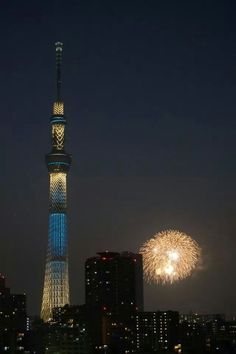 Tokyo skytree and firework at night.