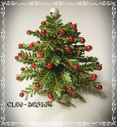 bugle bead tree; I don't usually like ornament bead projects that much, but I'd be tempted to make this just because it looks fun.