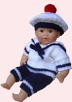 cards 32 and the sailors - Barbara Mamie - - fiches 32 et 33 : les marins cards 32 and the sailors - Crotchet Patterns, Baby Patterns, Knitting Patterns Free, Baby Knitting, Knit Or Crochet, Crochet Baby, Baby Pop, Preemie Clothes, Knitted Teddy Bear