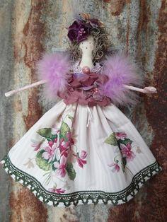 OOAK Fairy Doll 'Violet' Vintage Fabrics