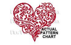 Heart Cross Stitch Red Heart Cross Stitch by NewYorkNeedleworks
