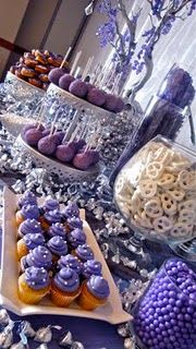Gorgeous dessert/candy table (pretzels, sixlets, mini cupcakes, cookies) and reminds me of my sweet 16 haha Dessert Bars, Buffet Dessert, Dessert Ideas, Lolly Buffet, Candy Buffet Tables, Party Buffet, Lila Party, Sofia Party, Do It Yourself Food