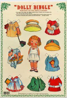 Details about DOLLY DINGLE Paper Doll geprägt Anziehpuppe mit 7 Kostümen Reprint…