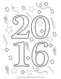 happy new year party colouring page kids celebrating the