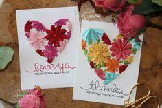 "Nichol Spohr LLC: Heart Flowers ""Thanks"" and ""Love Ya"" Cards (with Lawn Fawn dies)"