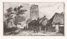 Jan Gerard Smits   Dorpsgezicht met kerktoren, Jan Gerard Smits, 1873   Dorpsstraat met wandelende mensen. Op de achtergrond een forse kerktoren. Mogelijk Wijk bij Duurstede?