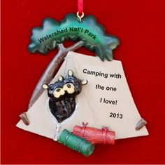 black bear tent for couple personalized christmas ornament