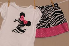 Personalized Disney Inspired Minnie Mouse Outfit - Baby Toddler Girls - Perfect for Disney Trips or Gift - Zebra Pink Dots- Brother shirt on Etsy, $32.00