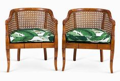 One Kings Lane - Vintage Accents, Brass Animals & More - Banana Leaf Bamboo Barrel Chairs, Pair Cane Furniture, Rattan Furniture, Furniture Projects, Furniture Design, Estilo Tropical, Design Tropical, Tropical Decor, Tropical Style, Bamboo Dining Chairs