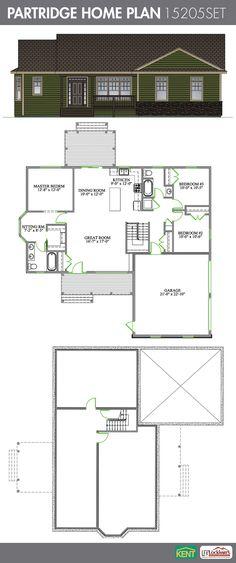 Partridge 3 Bedroom 2 Bathroom Home Plan Features Open Concept Great Room