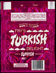 Fry's Turkish Delight, in a foil wrapper. Sweet Wrappers, Candy Bar Wrappers, Vintage Sweets, Retro Sweets, My Childhood Memories, Sweet Memories, Fries, Nostalgia, Kitchens