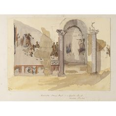 Watercolour - `Excavated Roman Hall in an Egyptian Temple - Luxor.  Thebes'