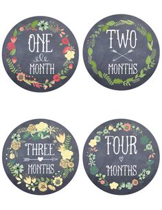 Monthly Baby Age Stickers Floral and Chalk board Age Month Sticker Chalkboard Shower Gift Photo Prop Etsy GetHappyDesign Get Happy Design