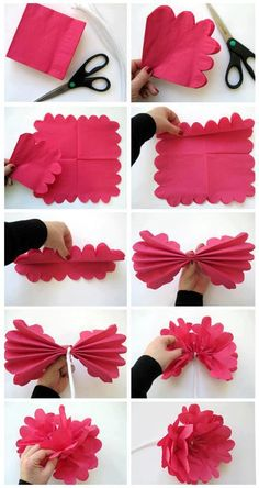 "diy_crafts- ""paper flowers from a napkin / Diy flores de papel"", ""Inspire your kids to discover the creative world of paper crafts for weeken Crepe Paper Flowers, Fabric Flowers, Flowers Made Of Paper, Paper Peonies, Handmade Flowers, Diy Flowers, Flower Diy, Flower Ideas, Flower Decorations"