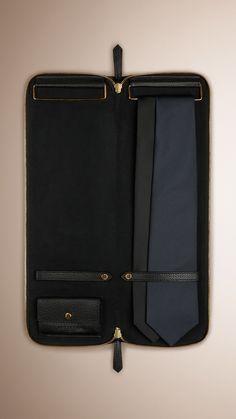 Grainy Leather Tie Case Black   Burberry