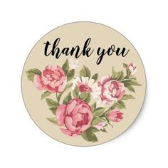 Shop floral thank you sticker - personalize text, round created by Team_Lawrence. Personalize it with photos & text or purchase as is! Thank You Images, Thank You Quotes, Thank You Note Cards, Thank You Gifts, Thank You Wallpaper, Rose Wallpaper, Thanks Messages, Party Frame, Paper Bag Crafts