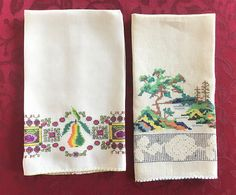 Two Guest Towels Embroidered Linen Vintage by VintageLinenGallery