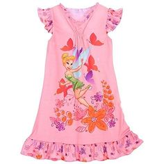 Enjoy exclusive for Disney Tinkerbell Nightshirt Floral Ruffled Butterfly Fairy Green XS [ 4 ] Toddler Girls Nightgown Pajama dress online - Newlovelyfashion Toddler Flower Girl Dresses, Ivory Flower Girl Dresses, Baby Dress, Girls Sleepwear, Girls Pajamas, Girly Outfits, Kids Outfits, Hoodie Dress, Girl Fashion