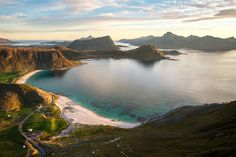 Most beautiful beach in the world - Haukland beach in the Lofoten,Norway at sunset.