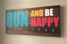 Race Medal Holder  Run and be happy by RunningByTheSea on Etsy