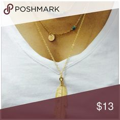 Multilayered Feather Necklace Multilayered Feather Necklace Jewelry Necklaces