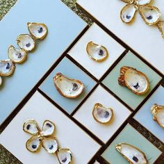 seashell craft ideas painted oyster shells on canvas
