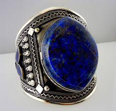 Rustic, but beautiful. Afghan tribal jewelry. Cuff - lapis lazuli, silver, gold