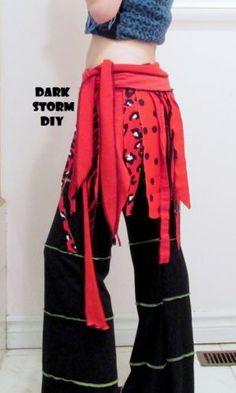 Circus Costume Wrap Skirt DIY Red Polka Dot Handmade Gypsy Carnival Festival