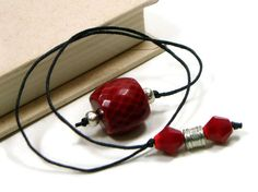 Book Thong Beaded Bookmark Red Silver Book Cord Book by TJBdesigns, $4.00