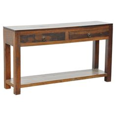 Add rustic-chic appeal to your entryway or living room with this handcrafted reclaimed wood console table, showcasing 2 drawers and an open display shelf.