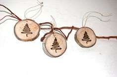 Tree Slice - Rustic Christmas Ornament - GIFT Tag can use wood burning tool