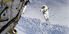 NASA Mission: This photo of NASA Astronaut Mark C. Lee -- floating untethered above Earth -- was taken from NASA's Space Shuttle Discovery while orbiting high above the South Pacific Ocean (latitude longitude on 16 September 1994 at 15